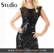 Black Sequin Mini Trendy Dress