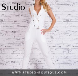 Sexy Overall Jumpsuit Jogger White