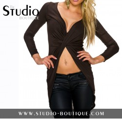Italian Wrap Cardigan Brown