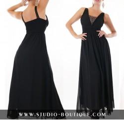 Σιφόν μάξι φόρεμα με στράς στο ντεκολτέ