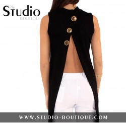 Slit Back Sweater With Button Detail Black