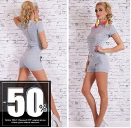 Sexy Hot Pants Overall Jumpsuit Jogger Grey