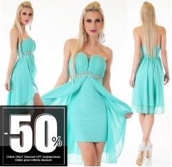 Sexy Vokuhila Dress Chiffon Turquoise