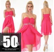 Sexy Vokuhila Dress Chiffon Pink