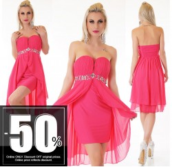 Sexy Vokuhila Dress Chiffon Pink