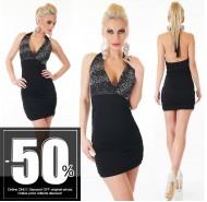 Ιταλικό μίνι μοντέρνο μαύρο φόρεμα με στράς στο στήθος και ανοικτή πλάτη
