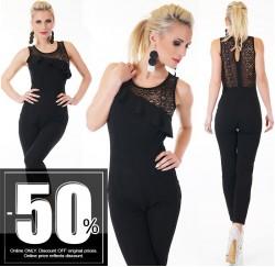 Ιταλική ολόσωμη μαύρη φόρμα με δαντέλλα