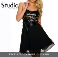 Italian Spaghetti Straps Mini Dress Black / Gold