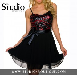 Italian Spaghetti Straps Mini Dress Black / Red
