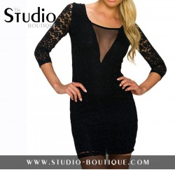 Italian Mini Lace Black Dress