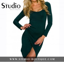 Italian Long Sleeve Mini Dress Dark Green