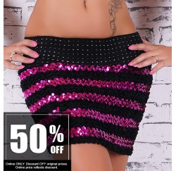 Skirt Stretch Sequined Black-Pink
