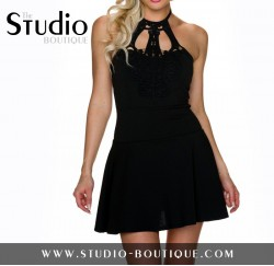 Italian Short Dress Black