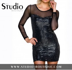 Italian Short Dress Black / Silver
